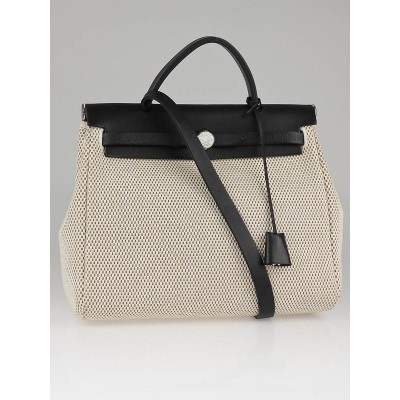 Hermes 30cm Natural/Black Toile and Leather 2-in-1 Herbag PM Bag