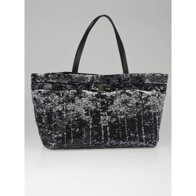 Salvatore Ferragamo Black Nylon and Sequin Medium Tote Bag