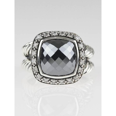 David Yurman 11mm Hematite and Diamond Albion Ring Size 7