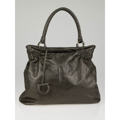 Salvatore Ferragamo Espresso  Calfksin Leather Nilla Tote Bag