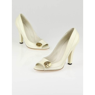 Gucci White Patent Leather Hysteria Peep Toe Pumps Size 8.5B