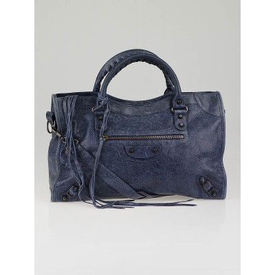 Balenciaga Blue Roi Lambskin Motorcycle City Bag