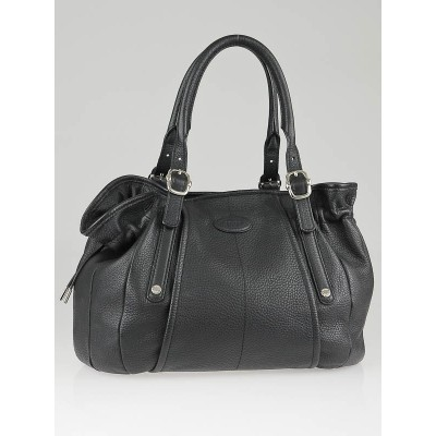 Tod's Black Calfskin Leather G-Bag Media Shopping Tote Bag