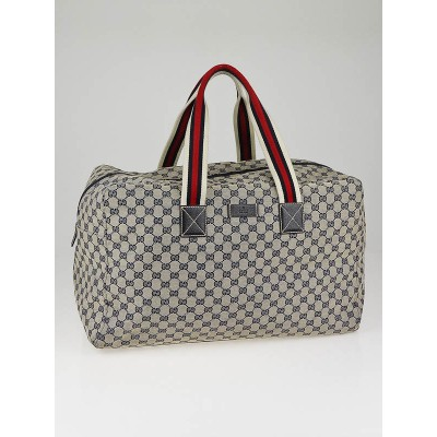 Gucci Blue/Grey GG Canvas Large Carryall Duffle Bag