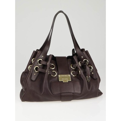 Jimmy Choo Dark Brown Leather Ramona Bag