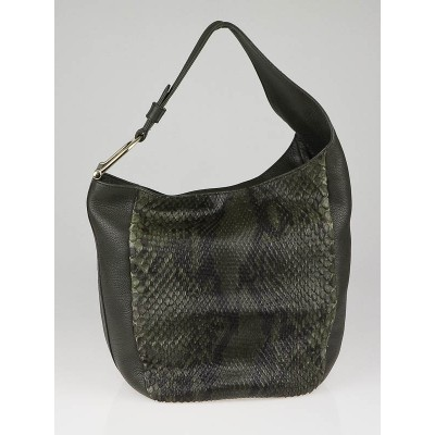 Gucci Green Python and Leather Greenwich Hobo Bag