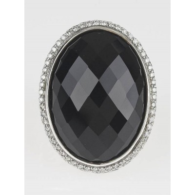 David Yurman Black Onyx and Diamond Signature Large Oval Ring Size 8