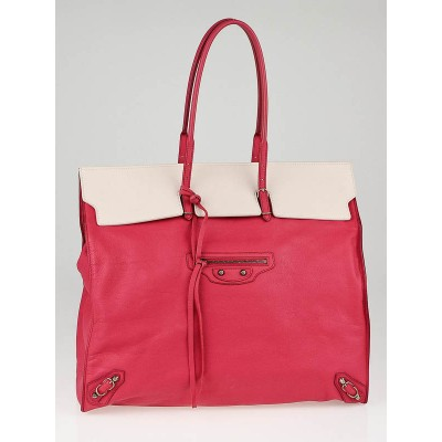 Balenciaga White/Pink Calfskin Leather Two-Tone Papier Flap Tote Bag