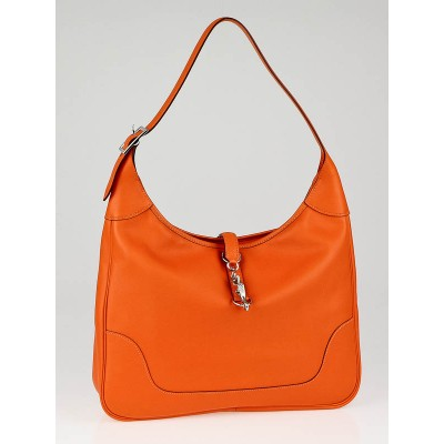 Hermes 35cm Orange Swift Leather Trim II Bag