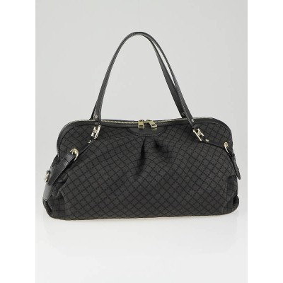 Gucci Brown/Black Diamante Canvas Large Shoulder Bag