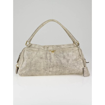 Prada Beige Cracked Distressed Leather Shoulder Bag
