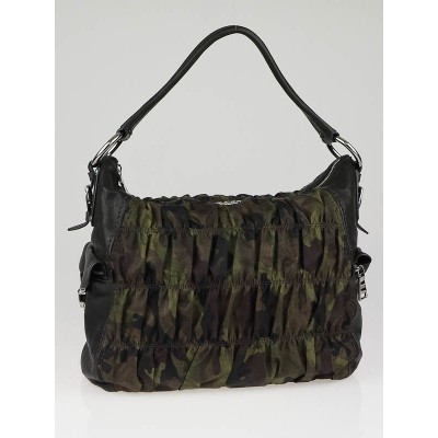 Prada Mimetico Tessuto Camouflage and Leather Hobo BR4586
