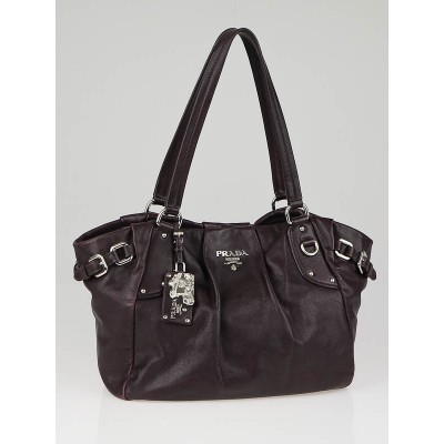 Prada Prugna Soft Calfskin Leather Shopping Tote Bag BR3974