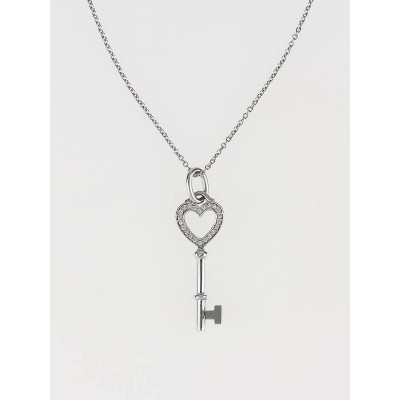 Tiffany & Co. 18k White Gold and Diamond Tiffany Keys Mini Heart Key Pendant