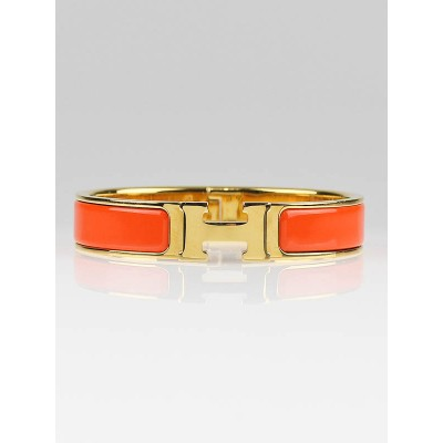 Hermes Orange Enamel and Gold Plated Clic H PM Bracelet