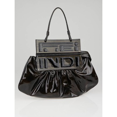 Fendi Brown Tortoise Patent Leather Convertible To You Clutch Bag