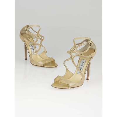 Jimmy Choo Nude Patent Leather Lance Open-Toe Heels Size  6/36.5