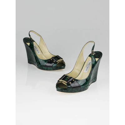 Jimmy Choo Green Leopard Print Patent Leather Wedges Size 8.5/39