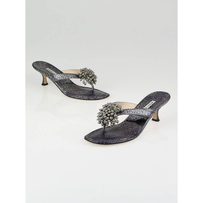 Manolo Blahnik Black/Grey Leather Afrisea Thong Sandals Size 8.5/39