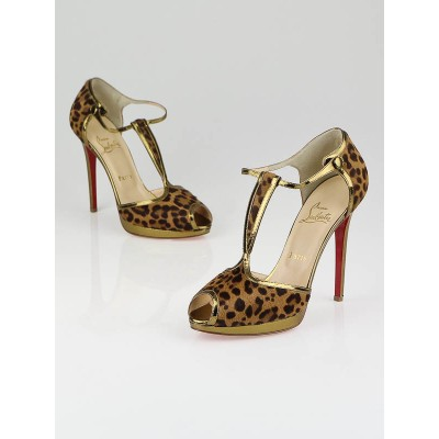 Christian Louboutin Leopard Print Pony Hair Oeooo 120 Platform T-Strap Heels Size 8/38.5