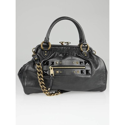Marc Jacobs Black Metallic Leather Firebird Stam Bag