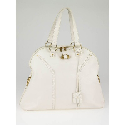 Yves Saint Laurent White Leather Oversized Muse Bag