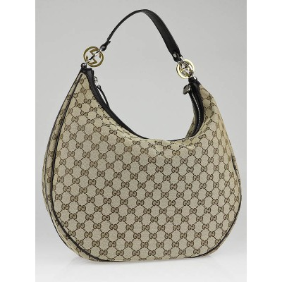 Gucci Beige/Ebony GG Fabric Twins Large Hobo Bag
