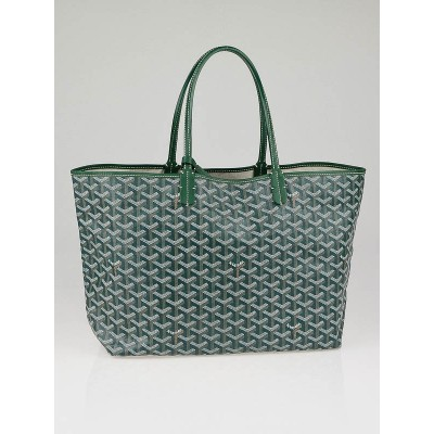 Goyard Green Chevron Coated Canvas St. Louis PM Tote Bag