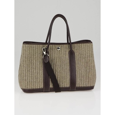 Hermes Brown Felt and Leather Garden Party PM Bag