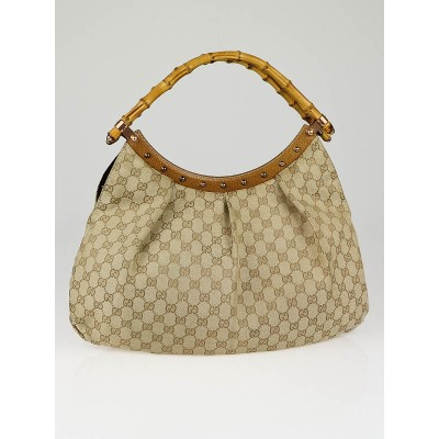 Gucci Beige/Brown GG Canvas Bamboo Top Handle Shoulder Bag