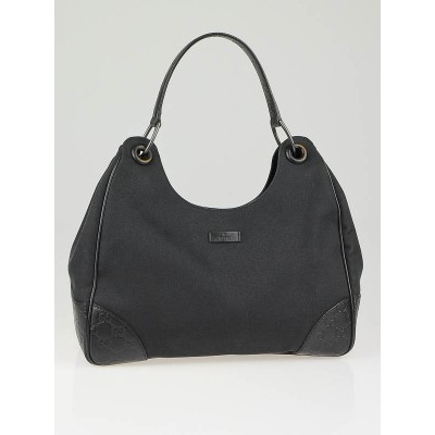 Gucci Black Canvas and Guccissima Leather Trim Colbert Shoulder Bag