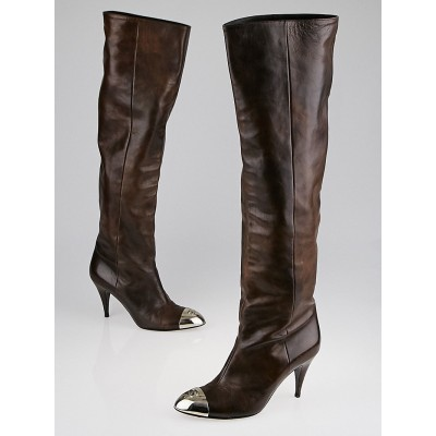 Chanel Brown Leather Silver Cap Toe Tall Boots Size 6.5/37