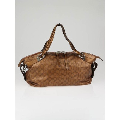 Gucci Bronze Guccissima Leather Bamboo Bar Medium Shoulder Bag