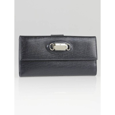 Gucci Navy Blue Leather Continental Long Wallet
