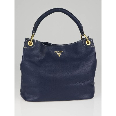 Prada Navy Blue Calfskin Leather Hobo Bag