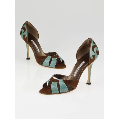 Manolo Blahnik Brown Suede and Turquoise Patent Leather Palmata D'Orsay Heels Size 7.5/38