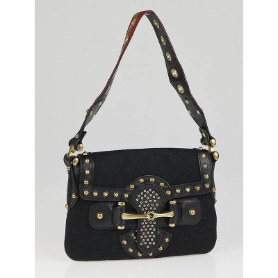 Gucci Black GG Canvas Studded Pelham Runway Flap Bag