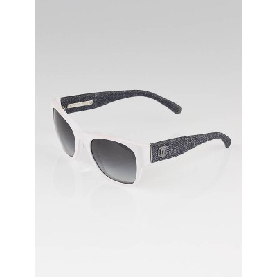 Chanel White Frame and Denim Wayfarer CC Sunglasses