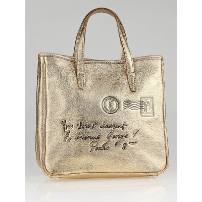 Yves Saint Laurent Gold Metallic Leather Y Mail Small Tote bag