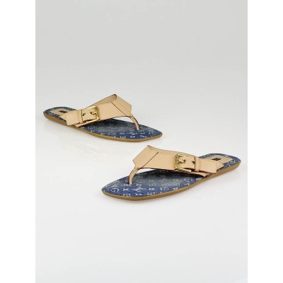 Louis Vuitton Blue Denim Monogram Denim Thong Sandals Size Size 8/38.5