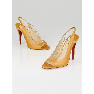 Christian Louboutin Peach Leather Spritney 100 T-Strap Slingbacks Size 9.5/40