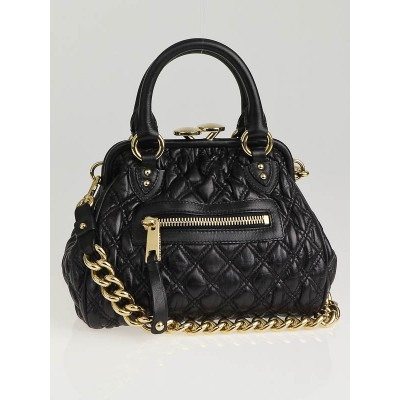 Marc Jacobs Black Elastic Quilted Leather 'The Kid' Stam Bag