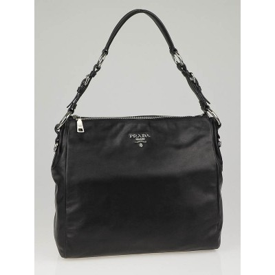Prada Black Soft Calfskin Leather Hobo Bag