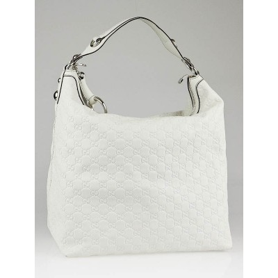 Gucci White Guccissima Leather Icon Bit Large Hobo Bag