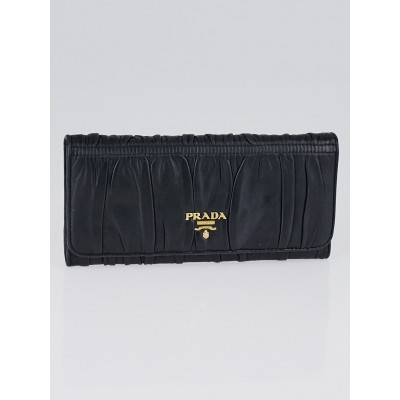 Prada Black Nappa Gaufre Leather Continental Wallet