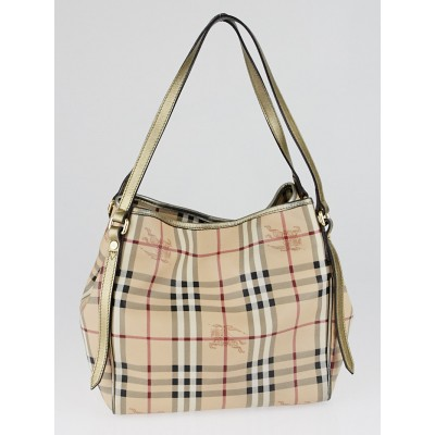 Burberry Gold Leather Haymarket Check Coated Canvas Canterbury Tote Bag