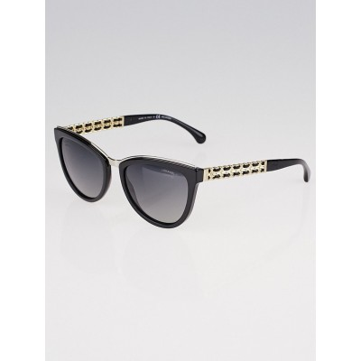 Chanel Black Acetate Frame Tint Cat Eye Sunglasses-5361