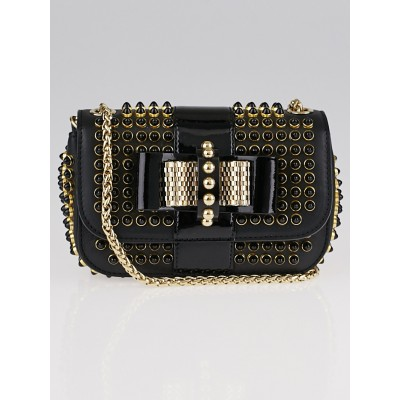 Christian Louboutin Black Leather and Black/Gold Spike Mini Sweet Charity Bag