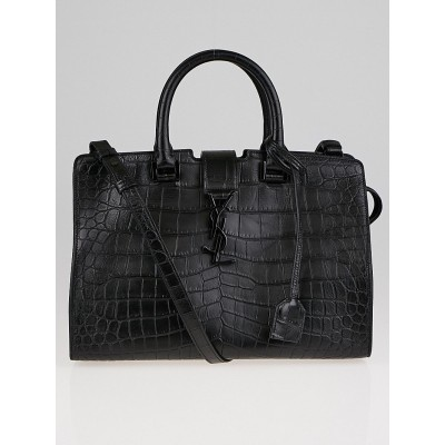 Yves Saint Laurent Black Croc Embossed Leather Small Monogram Cabas Bag