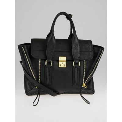3.1 Phillip Lim Black Shark Embossed Leather Medium Pashli Satchel Bag
